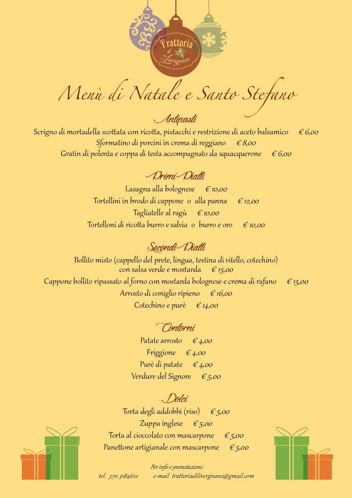 Christmas menu and Santo Stefano awaits you on the table for your parties at the restaurant Livergnano