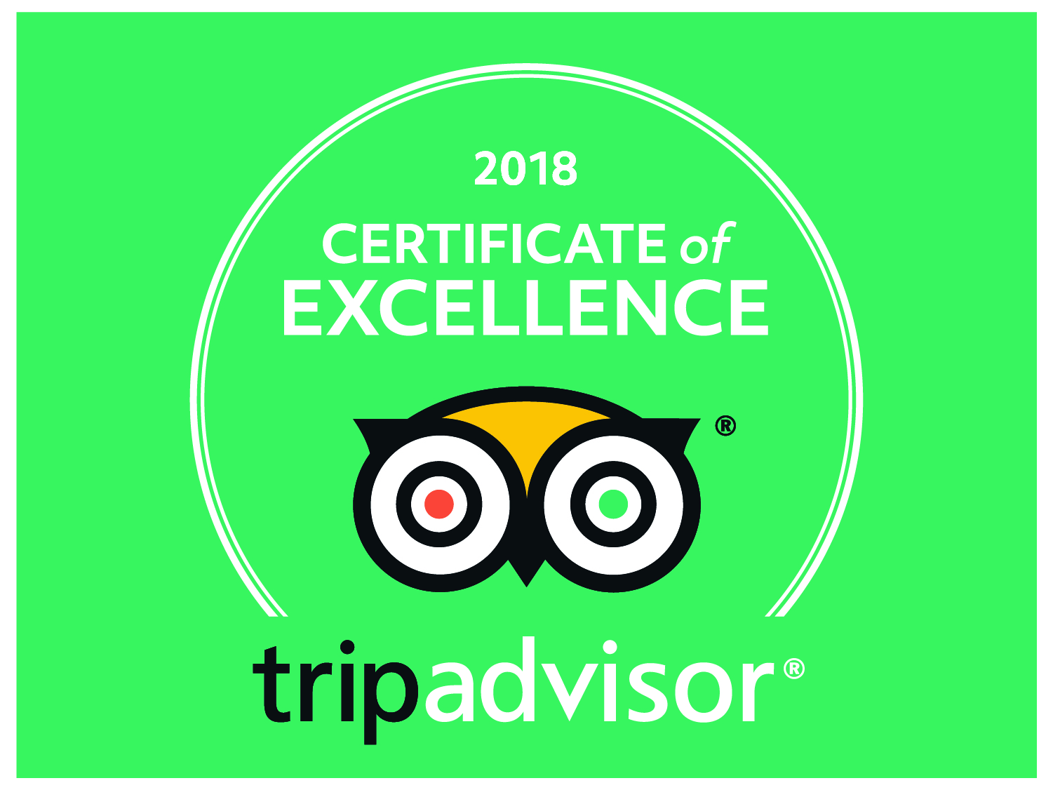2018 Certificate of Excellence Tripadvisor - Green logo